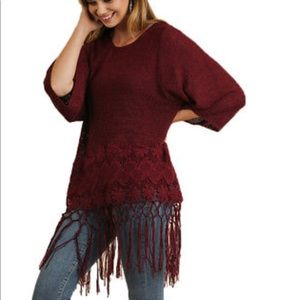 Umgee sweater with floral crochet and fringe hem